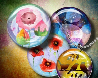 WATERCOLOR SPLASH - Digital Collage Sheet - 1.5 inch circles or any smaller size for all your craft needs - See Promo Offer