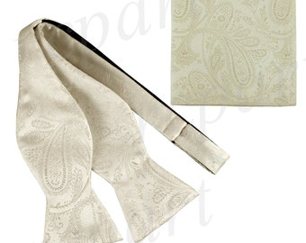 New Men's Paisley Ivory Self-Tie Bowtie and Handkerchief, for Formal Occasions