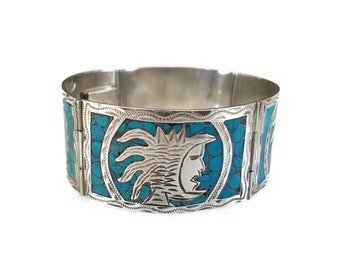 Guadalajara Mexico Sterling Inlay Turquoise Bracelet - Aztec Warrior, Bangle Bracelet, Wide Bracelet, Crushed Turquoise, Mexican Sterling