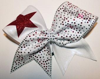 AWESOME ! Rhinestone and Glitter Star Custom Allstar Cheer Bow by FunBows !!!