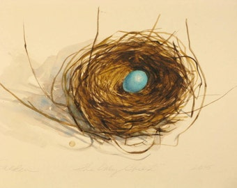 The Only Child  Robins nest watercolor painting robins egg blue nature painting nest paintings original painting