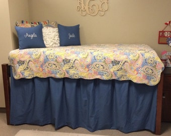 Dorm Bed Skirt with Inverted Box Pleats - custom - LINED - choose your own fabric and length