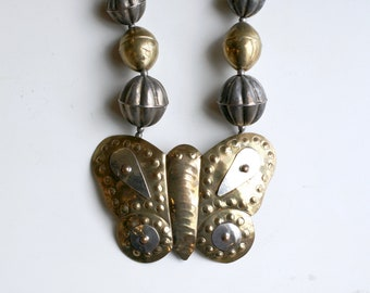 1980s brass butterfly statement necklace made in India / 80s vintage mixed metals silver and brass big butterfly pendant necklace