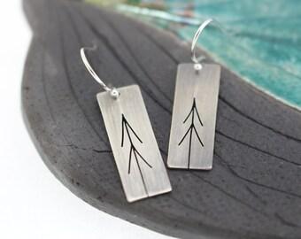 Narrow Tall Pines Tree Art sterling silver asymmetrical  earrings