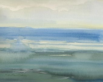 Sea of Blues, minimalist seascape painting, original watercolor, 11 x 14 with mat