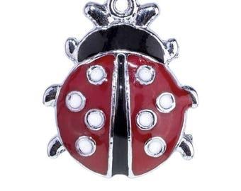 Ladybug charm enamelware red and black-22x18mm