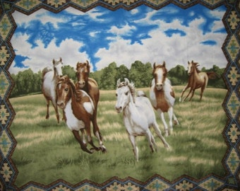 """Horse fleece blanket Southwest border field grass sky cloud large bed size wsrm cover throw adult child 60""""X72"""""""