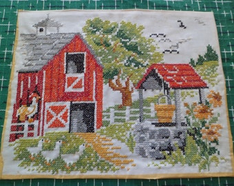 "Vintage Cross Stitch Embroidery PictureWall Hanging 14"" x 11"" Red Barn Farm Scene Chickens/Ducks"