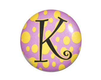 Initial button ID button personalized button 2 1/4 inch button with initial