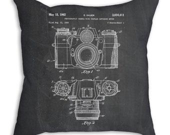 Camera Pillow, Camera Throw Pillow, Decorative Pillows, Decorative Throw Pillows 18x18, PP0006