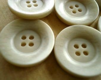 Set of 3 round buttons, plastic, gray beige, 23 mm diameter