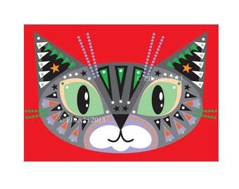 Grey Cat Greeting card