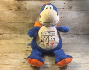 Personalized Baby Cubbie Blue Dragon Baby Embroidered Cubbies Stuffed Animal Personalized Stuffed Animal Baptism Gift Birth Announcement