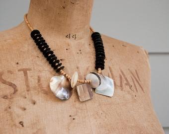 SALE Vintage tribal necklace, boho necklace, wooden bead necklace, natural shell necklace, tribal jewelry, beach jewelry, 70s necklace