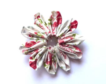 Gathered petals fabric kanzashi flower double sided 100% cotton