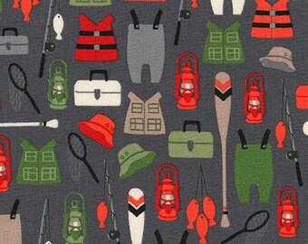 Brawny Bears Fabric by the Yard, Camping Fabric, Fishing Fabric, Andie Hanna, Novelty Fabric, Robert Kaufman Fabrics, AHE-16715-267