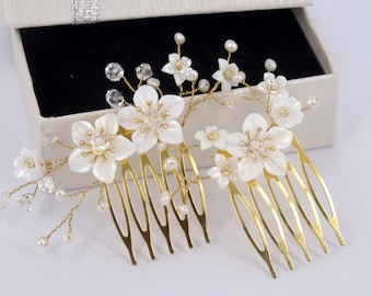 Jennie- Mother Pearl Flower and Swarovski Crystal Bridal Comb ( Set of Two )