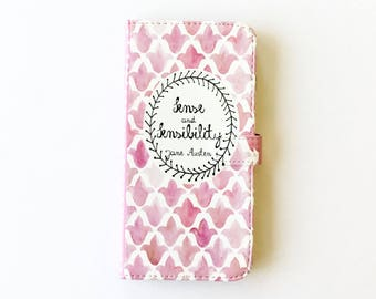 Jane Austen Gift, Sense and Sensibility Phone Case, Jane Austen iPhone Case, Book Phone Case, Book iPhone Case, iPhone 8, Wallet Phone Case