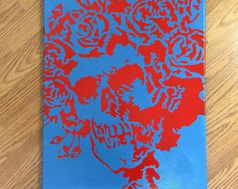 Handmade Grateful Dead Skull and Roses Canvas Wall Art