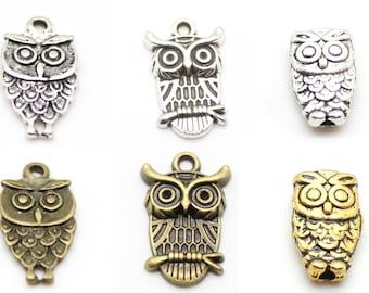 Owl Beads, Links, Charms, Pendants - Nickel Free Tibetan Silver - DIY Jewelry