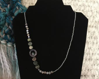 Black mother-of-pearl and glass asymmetrical necklace