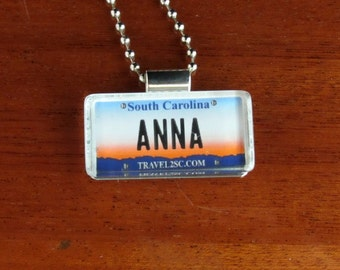 Personalized South Carolina License Plate Pendant Necklace by PL8LINKS