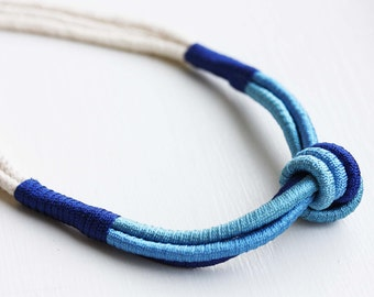 Rope Knot Necklace - Navy and Blue