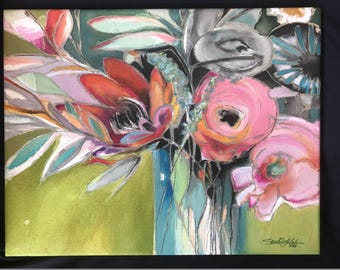 A Bouquet for You    14 x 18     Original Watercolor Batik