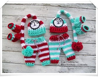 Baby Twin Prop Sets,  Newborn Baby Outfits, Boy and Girl Twins, Twin Boys, Twin Girls, Baby Twin Prop Sets