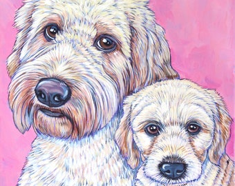 """Custom Pet Portrait on Canvas Painting in Acrylics 10"""" x 10"""" x .75"""" of Two Dogs, Cats, Pets. Hand Painted Animal Artwork Dog Lover Gift."""