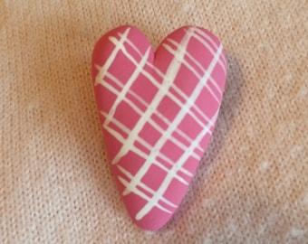Polymer clay valentine heart pin/brooch