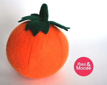 100% wool felt pumpkin for pretend play and play kitchens.  Celebrate Autumn, harvest, or Halloween.