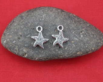 starfish--25pcs Antique Silver Mini starfish Charm Pendants----13*17mm--G324