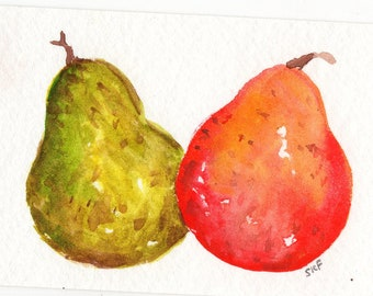 ACEO Original Red Pear, Green Pear Watercolor Painting Art Card