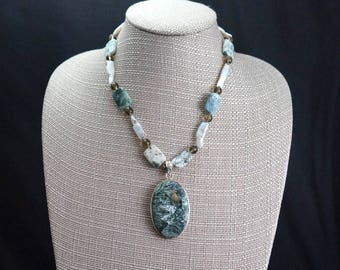 Seraphinite Pendant with Moss Agate and Freshwater Pearl