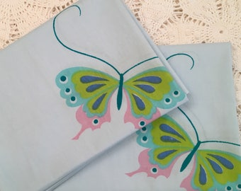 Vintage Pillowcases - Blue Butterfly Standard Cases - Soft - Seem to be NOS - Unused - Martex - 1970s Butterflies Mori