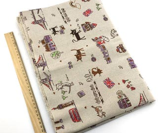 1 x fabric coupon 50x145cm pattern pure linen printed city Ref:27 cat