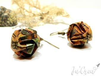 These earrings in modular origami ball geometric scroll treasure