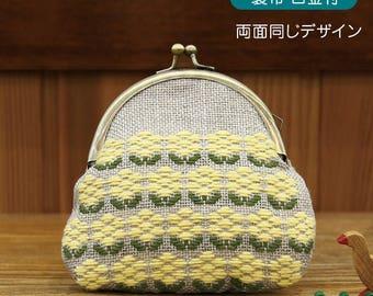 Raps Flower Design Olympus Kogin Stickerei Metallrahmen Beutel Kit    Traditionelles Japanisches Handwerk