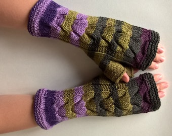 Multicolor ( green, purple, burgundy ) fingerless gloves, wrist warmers, fingerless mittens. Handmade, knitted of PURE wool.