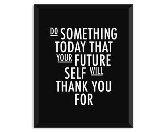"""Motivational Wall Decor Typography Poster """"Do Something Today"""" Wall Decor Inspirational Print Home Decor Winter Gift New Year Resolution"""