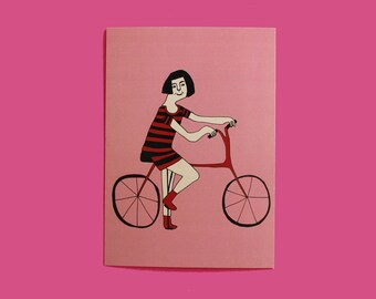 postcard, card, illustration, drawing, bicycle, cute, gift