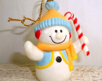 Vintage Snowman With Candy Cane Ornament, Christmas Tree Ornament, Yellow and Blue, New Old Stock  (800-15)
