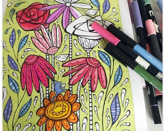 Printable Floral Splashes Colouring Page