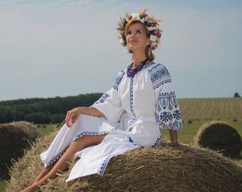 Maxi White Linen Dress With Blue Ukrainian Ornament. White Linen Kaftan With Embroidery. Boho Style Maxi Dress. White Linen Vyshyvanka Dress