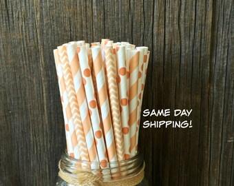 100 Peach Straw Combo - Birthday, Shower, Wedding Supply - Free Shipping!