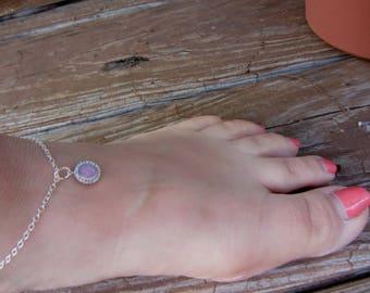 Anklets for Women,  Pink Opal, Opal Anklet, PInk Gemstone Anklet, Anklet for October Born, October Birthday Gift, Bar Mitzvah Gift,