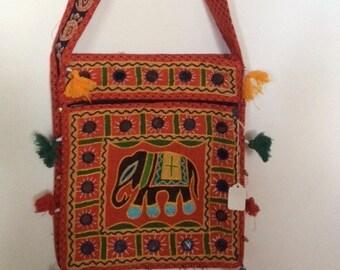 Shoulder bag-with Embroidered Elephant Motif