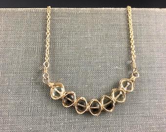 Smoky Quartz Woven Bar Necklace in Gold-Fill