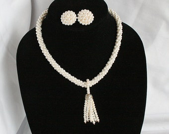 Vintage White Tassel Necklace Earrings Set Tiny Faux Pearl Rope Dangle Drop